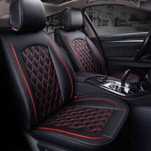 Bộ Áo ghế Da ô tô cao cấp kẻ Caro đen phối đỏ